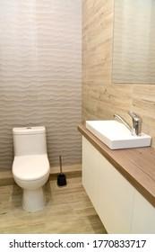 Bathroom interior in the style of eco-minimalism