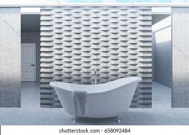 Bathroom interior with two long mirrors, a curved white bathtub standing near a brick pattern wall. A towel is hanging on the tub. Concept of comfort and relaxation. 3d rendering mock up