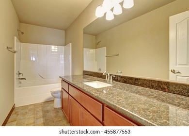Bathroom interior with vanity cabinet, granite counter top and white shower bath tub
