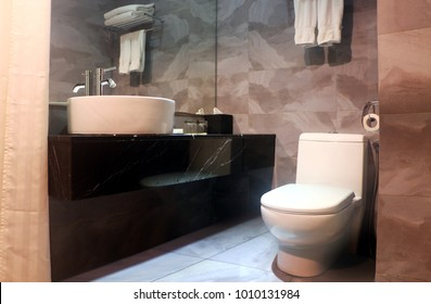 Bathroom interior with vanity mirror and toilet bowl