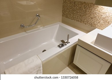 Bathroom interior with white bathtub in Luxury bathroom.
