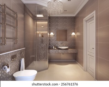 Bathroom in a luxurious art deco style with classical elements. The walls of the mosaic tile coffee color. Glass corner shower to ceiling. Sanitary white with chrome fittings. 3D render.