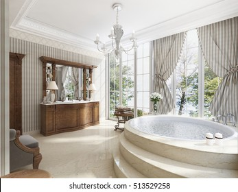 Bathroom in luxury neo-classical style with sinks tubs and a large round bath with marble steps. A comfortable chair for relaxing. 3D render.