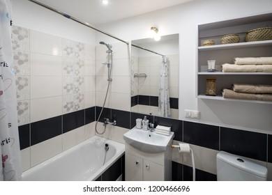 Bathroom in modern elegant apartaments.  Shower, bath, wc.