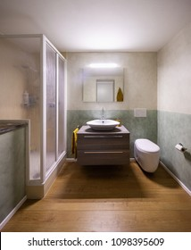 Bathroom with modern finishes and white walls. Nobody inside