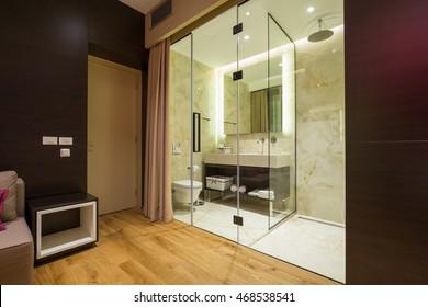 Bathroom in a modern luxury hotel suite