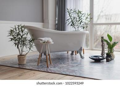bathroom in modern style, botanical style