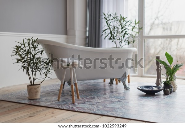 Fine Bathroom Modern Style White Bath Chair Stock Photo Edit Now Caraccident5 Cool Chair Designs And Ideas Caraccident5Info
