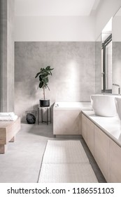 Bathroom in a modern style with white and tiled gray walls. There is a white bath, sinks, chrome faucet, window, mirror, light carpets, stands with towels and a green plant, metal black basket.