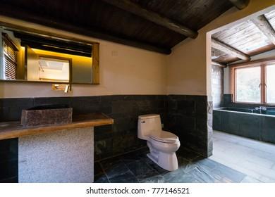 the bathroom with nice decoration