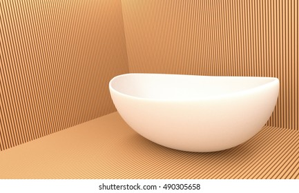 bathroom with object shape .interior .3d render