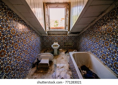 Bathroom in an old abandoned luxury villa in Porgugal