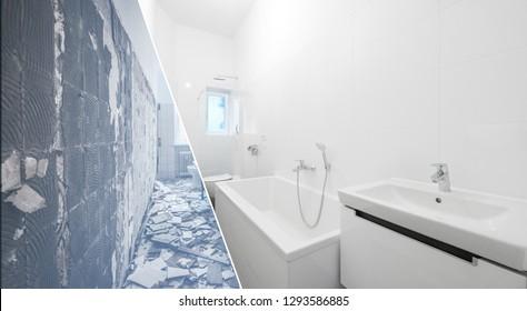 bathroom renovation - old and new bathroom