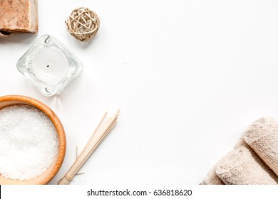 bathroom salt and natural soap for spa on white background top view mock-up