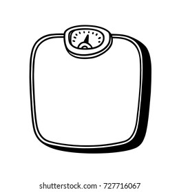 Bathroom scale black and white illustration; Isolated Bathroom scale