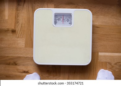 bathroom scale - diet and overweight concept