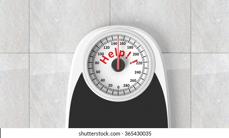 Bathroom scale with Help message on dial, on bathroom floor