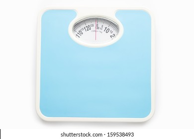 Bathroom scale isolate over white square background