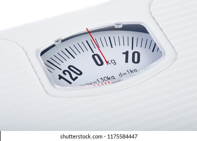 Bathroom scale on white background. Weight loss concept. Weight control by floor scale