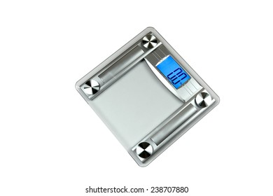 bathroom scale with a square transparent glass pan on top with multi display units in a blue backlighting Liquid Crystal Display screen for weight and four round stainless steel supporting points