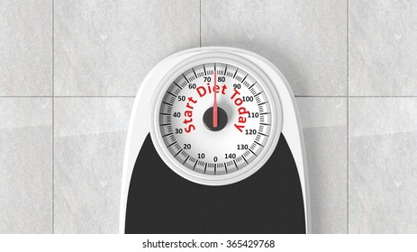 Bathroom scale with Start Diet Today message on dial, on bathroom floor