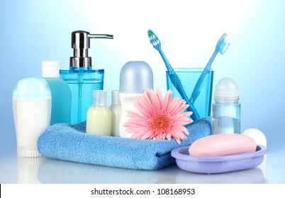 bathroom setting on blue background