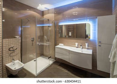 Bathroom with Shower cabin. Brown colors, contemporary interior.