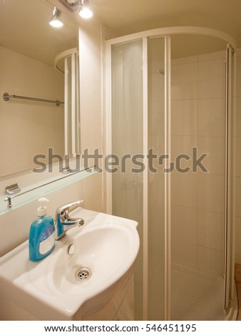 Bathroom Shower Cabin Toilet On Cruise Stock Photo Edit Now