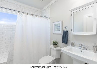 Bathroom with shower curtain.
