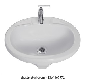 Bathroom Sink With white cartoon domestic home sink, for furniture of toilet, kitchen or bathroom, isolated on white Background