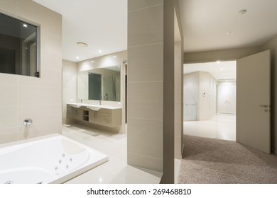 Bathroom with spa in large Australian mansion