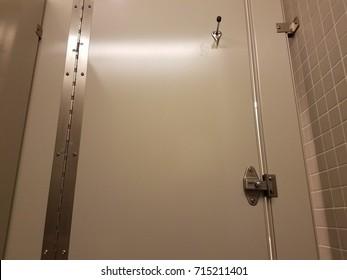 a bathroom stall door