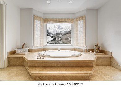 Bathroom toilet with bath tub in a luxury house.