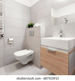 Bathroom with toilet, mirror and modern basin cabinet