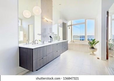 Bathroom with View in Luxury Home