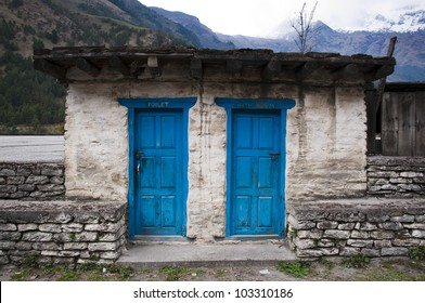 A bathroom in a village in Nepal on the Annapurna cirkuit way.