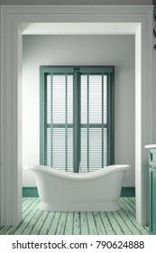 Bathtub in bathroom with wooden floor 3d rendering