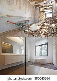 Bathtub in corian, Faucet and shower in tiled bathroom , Renovation Before and after