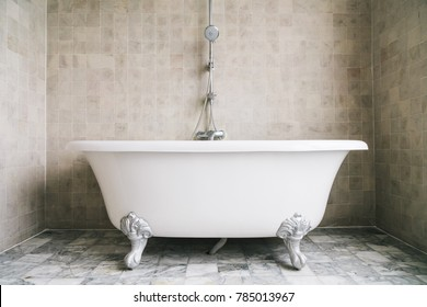 Bathtub decoration in bathroom interior