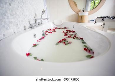 Bathtub inside the bathroom