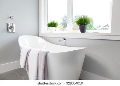 Bathtub in master bathroom in new luxury home