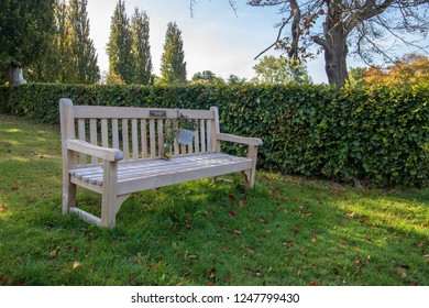 Bath,UK. 10-09-2018: Wooden Bench overlooking the Views and Graves at Haycombe Cemetery, Bath