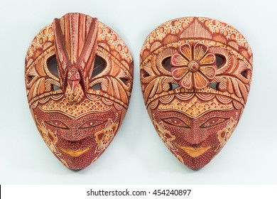 Batik Wooden mask souvenir isolated on white backgroud