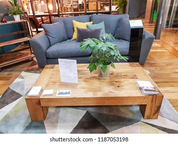 BATLEY, UK - SEPTEMBER 16, 2018: A sample of the home furnishing products found on display in the Heal's store, Redbrick Mill, Batley, West Yorkshire, UK