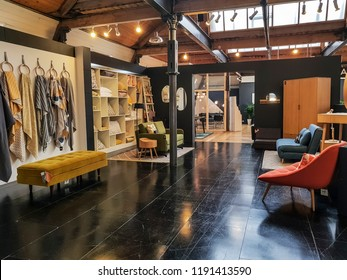 BATLEY, UK - SEPTEMBER 16, 2018: A sample of the home furnishing products found on display in the various stores located in the Redbrick Mill, Batley, West Yorkshire, UK