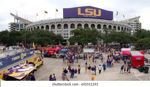 BATON ROUGE, LOUISIANA - 2014: LSU Tiger Stadium during a football game.