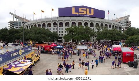 Baton Rouge, Louisiana, USA - 2018: LSU Tiger Stadium during a football game.