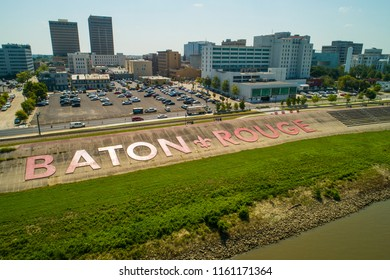 BATON ROUGE, LOUISIANA, USA - AUGUST 1, 2018: Aerial image of Downtown Baton Rouge by the Mississippi River