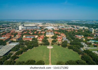BATON ROUGE, LOUISIANA, USA - AUGUST 1, 2018: Drone aerial photo Louisiana State University college campus