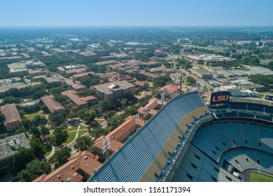 BATON ROUGE, LOUISIANA, USA - AUGUST 1, 2018: Aerial drone photo of LSU Louisiana State University